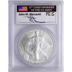 2013 $1 American Silver Eagle Coin PCGS MS70 First Strike Mercanti Signature
