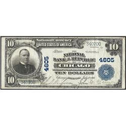 1902 PB $10 NB of the Republic of Chicago, IL CH# 4605 National Currency Note
