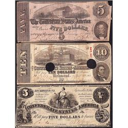 Lot of 1861-1863 (3) $5/$5/$10 Confederate States of America Notes