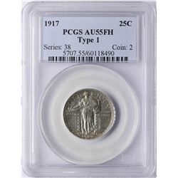 1917 Standing Liberty Quarter Coin PCGS AU55FH Type 1
