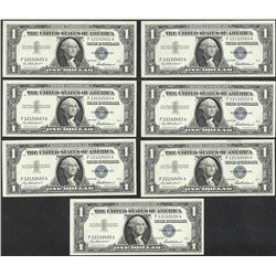 Lot of (7) Consecutive 1957 $1 Silver Certificate Notes