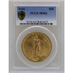 1910 $20 St. Gaudens Double Eagle Gold Coin PCGS MS62