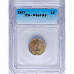 1907 Indian Head Cent Coin ICG MS64RB