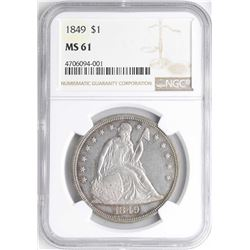 1849 $1 Seated Liberty Silver Dollar Coin NGC MS61