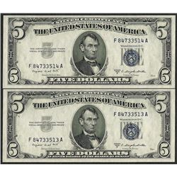 Lot of (2) Consecutive 1953B $5 Silver Certificate Notes Gem Uncirculated