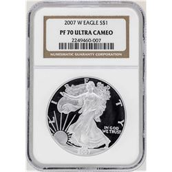 2007-W $1 American Silver Eagle Proof Coin NGC PF70 Ultra Cameo