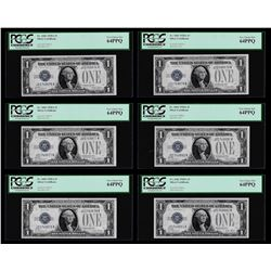 (6) Consecutive 1928A $1 Funnyback Silver Certificate Notes PCGS Very Choice New