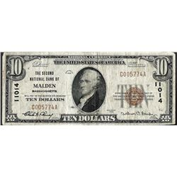 1929 $10 Malden, MA National Currency Note CH# 11014