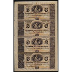 Uncut Sheet of $100 Citizens Bank of Louisiana Obsolete Notes