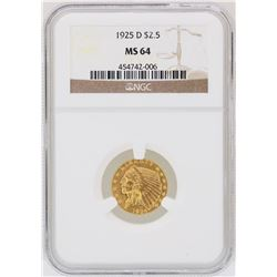 1925-D $2 1/2 Indian Head Quarter Eagle Gold Coin NGC MS64