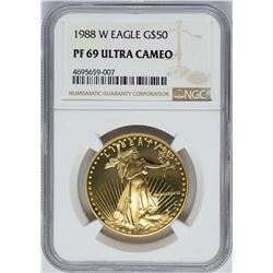 1988-W $50 American Gold Eagle Coin NGC PF69 Ultra Cameo