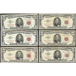Lot of (6) 1963 $5 Legal Tender Notes