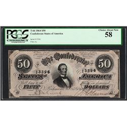 1864 $50 Confederate States of America Note T-66 PCGS Choice About New 58