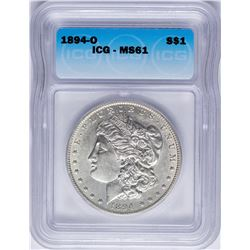 1894-O $1 Morgan Silver Dollar Coin ICG MS61