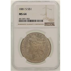 1881-S $1 Morgan Silver Dollar Coin NGC MS64