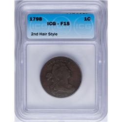 1798 Draped Bust Large Cent Coin ICG F15