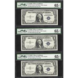 Lot of (3) 1935D $1 Silver Certificate Notes PMG Gem Uncirculated 65EPQ