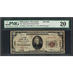 1929 $20 National Currency Note Milwaukee, Wisconsin CH# 1003 PMG Very Fine 20