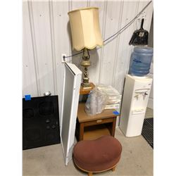 Wood Night stand, stool, lamp, 3 ceiling fixtures, 1 overhead light.