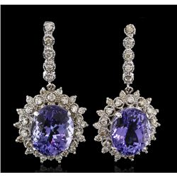 14.78 ctw Tanzanite and Diamond Earrings - 14KT White Gold