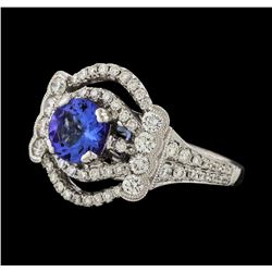 1.32 ctw Tanzanite and Diamond Ring - 18KT White Gold