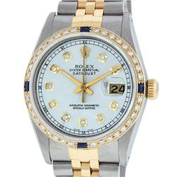 Rolex Mens 2 Tone 14K Silver & Sapphire Diamond 36MM Datejust Wriswatch
