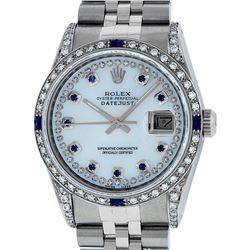 Rolex Mens Stainless Steel MOP Diamond Lugs & Sapphire String Datejust Wristwatc