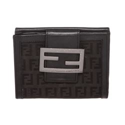 Fendi Black Zucca Canvas Leather Trim Small Wallet