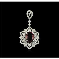 2.20 ctw Tourmaline and Diamond Pendant - 14KT White Gold