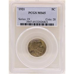 1921 Buffalo Nickel Coin PCGS MS65