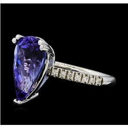 5.31 ctw Tanzanite and Diamond Ring - 14KT White Gold