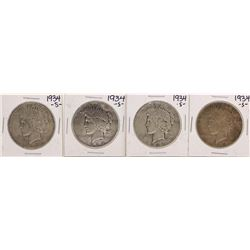 Lot of (4) 1934-S $1 Peace Silver Dollar Coins