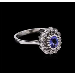 0.75 ctw Tanzanite and Diamond Ring - 14KT White Gold