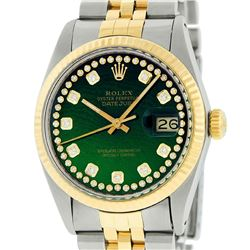 Rolex Mens 2 Tone 14K Green String Diamond 36MM Datejust Wristwatch