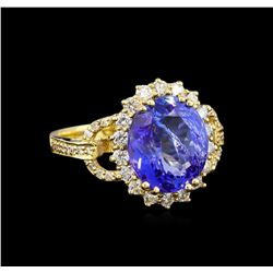 5.04 ctw Tanzanite and Diamond Ring - 14KT Yellow Gold