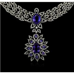 GIA Cert 22.54 ctw Tanzanite and Diamond Suite - 18KT White Gold