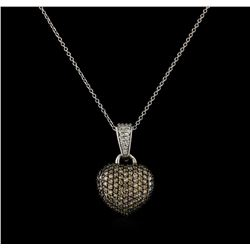 0.83 ctw Light Brown Diamond Heart Pendant With Chain - 14KT White Gold