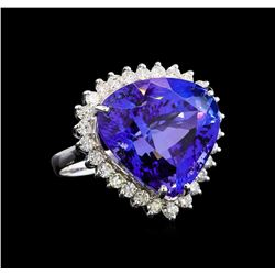 GIA Cert 28.94 ctw Tanzanite and Diamond Ring - 14KT White Gold