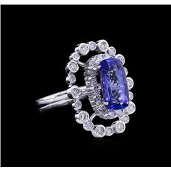 5.87 ctw Tanzanite and Diamond Ring - 14KT White Gold