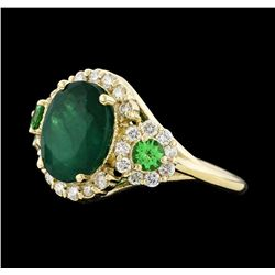 4.24 ctw Emerald, Tsavorite and Diamond Ring - 14KT Yellow Gold