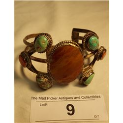 Silver, Turquoise & Agate Bracelet