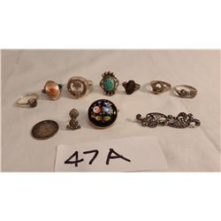 6 Sterling Rings, 1 Porcelain & Sterling Brooch, 1 Sterling & Markisite Pin, 1887 British Sixpence C