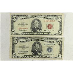 1953 $5 SILVER CERTIFICATE & 1963 $5 US NOTE BLUE