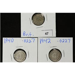 1933,40 & 42 GREAT BRITAIN SILVER 3 PENCE