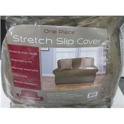 One piece Stretch Slip cover fits most loveseats up to 68 inches