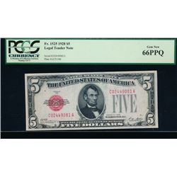 1928 $5 Legal Tender Note PCGS 66PPQ