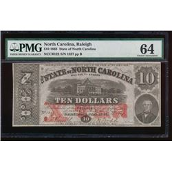 1863 $10 State of North Carolina Note PMG 64