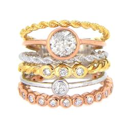 14KT Tri Color Gold 1.42ctw Diamond Ring