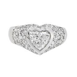 18KT White Gold 1.65ctw Heart Shaped Diamond Ring
