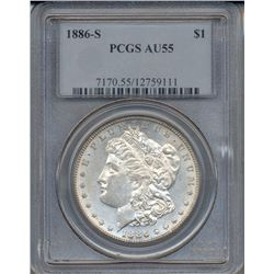 1886-S $1 Morgan Silver Dollar Coin PCGS AU55
